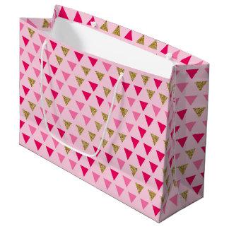Bolsa De Regalo Grande Bolso rosado del regalo del oro