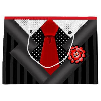 Bolsa De Regalo Grande Caballero elegante en blanco y rojo negros