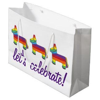 Bolsa De Regalo Grande ¡Celebremos! Cumpleaños Piñata del burro del arco