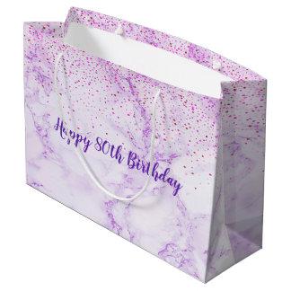 Bolsa De Regalo Grande Confeti de mármol violeta elegante del 80.o