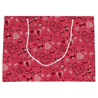 Bolsa De Regalo Grande Corazones y bolso rosados del regalo de las flores