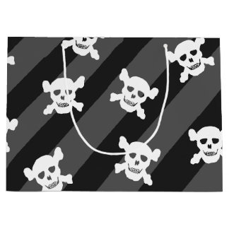 Bolsa De Regalo Grande Cráneo blanco y bandera pirata en rayas negras