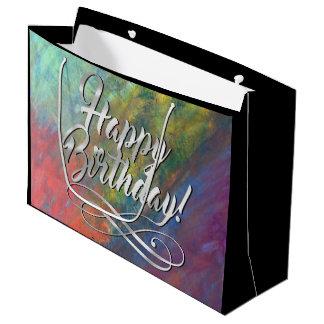 Bolsa De Regalo Grande Cumpleaños de moda del arco iris abstracto