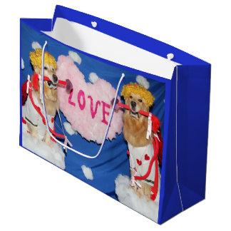 Bolsa De Regalo Grande Cupids del golden retriever del amor