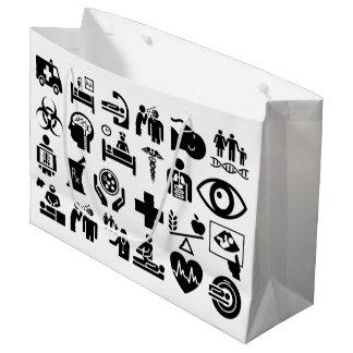 Bolsa De Regalo Grande Diseño blanco y negro intrépido de los iconos