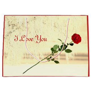 Bolsa De Regalo Grande Diseño de Frost del invierno del rosa rojo te amo