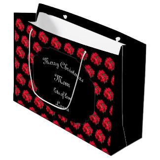Bolsa De Regalo Grande Diseño del Poinsettia de la mamá de las Felices