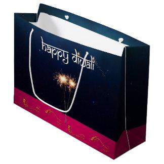 Bolsa De Regalo Grande Diwali feliz chispeante - bolso grande del regalo