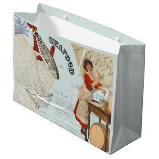 Bolsa De Regalo Grande El cocinar de los mariscos del vintage