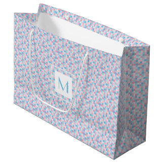 Bolsa De Regalo Grande El monograma rosado y el azul ajusta el bolso