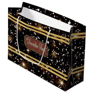 Bolsa De Regalo Grande El oro de las estrellas alinea el bolso grande del