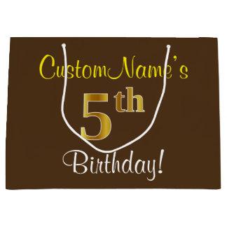 Bolsa De Regalo Grande Elegante, Brown, 5to cumpleaños del falso oro +