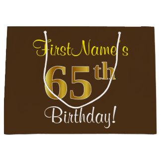 Bolsa De Regalo Grande Elegante, Brown, 65.o cumpleaños del falso oro +