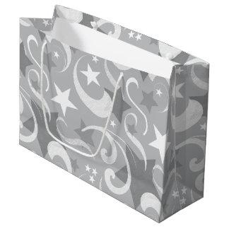 Bolsa De Regalo Grande Elegante, gris, estrellas, blanco, remolino,