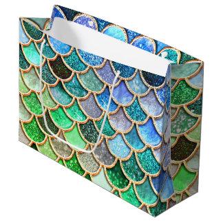 Bolsa De Regalo Grande Escalas brillantes azulverdes de la sirena del