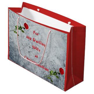 Bolsa De Regalo Grande Esposa querida del rosa rojo en el diseño del