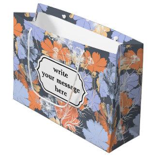 Bolsa De Regalo Grande Estampado de flores anaranjado violeta gris del