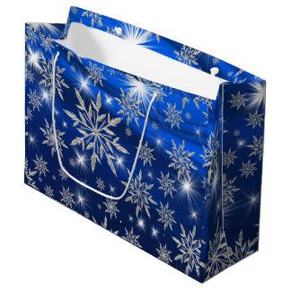 Bolsa De Regalo Grande Estrellas azules del navidad con el cristal de