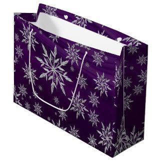 Bolsa De Regalo Grande Estrellas púrpuras del navidad con el cristal de