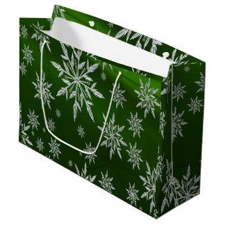 Bolsa De Regalo Grande Estrellas verdes del navidad con el cristal de