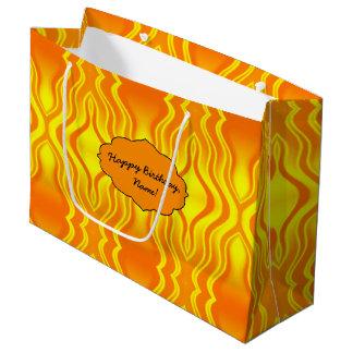 Bolsa De Regalo Grande Extracto del amarillo anaranjado de las olas de