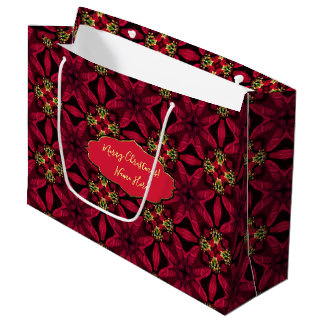 Bolsa De Regalo Grande Extracto rojo 2 de los Poinsettias