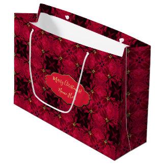 Bolsa De Regalo Grande Extracto rojo 3 de los Poinsettias