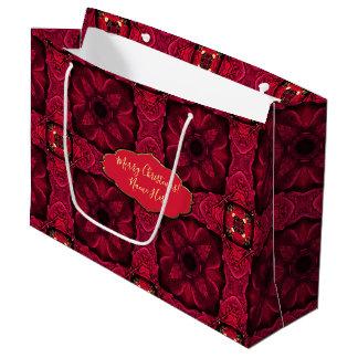Bolsa De Regalo Grande Extracto rojo 9 de los Poinsettias