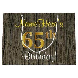 Bolsa De Regalo Grande Falsa mirada de madera, 65.o cumpleaños del falso