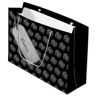 Bolsa De Regalo Grande Felices Navidad negras/diseño gris del Poinsettia