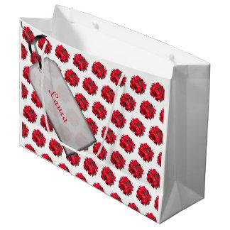 Bolsa De Regalo Grande Felices Navidad rojas/diseño blanco del Poinsettia