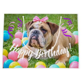 Bolsa De Regalo Grande Feliz cumpleaños del dogo lindo