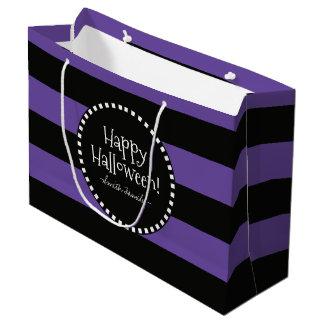 Bolsa De Regalo Grande ¡Feliz Halloween! Las rayas caprichosas de la