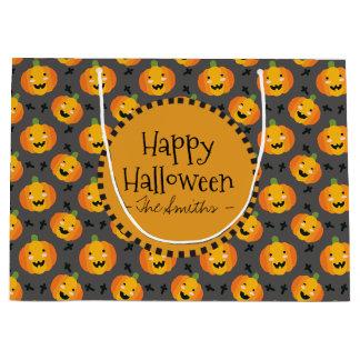 Bolsa De Regalo Grande Feliz Halloween. Linterna feliz de Jack O de la