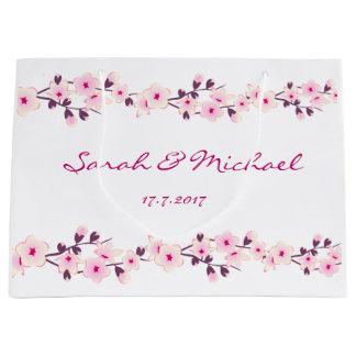 Bolsa De Regalo Grande Flores de cerezo florales que casan el bolso