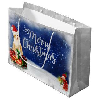 Bolsa De Regalo Grande Gato en Felices Navidad del gorra de Santa