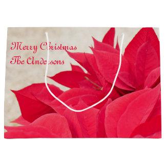 Bolsa De Regalo Grande Hoja roja personalizada del Poinsettia