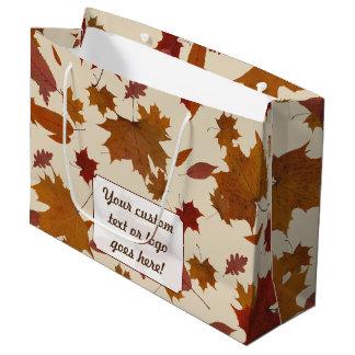 Bolsa De Regalo Grande Hojas de otoño con la etiqueta de encargo del