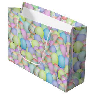 Bolsa De Regalo Grande Huevos de Pascua coloreados pastel bonito