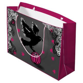 Bolsa De Regalo Grande ilustracion de Halloween de un cuervo y de una