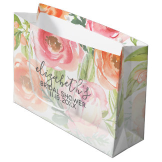 Bolsa De Regalo Grande La acuarela pintada florece la ducha nupcial