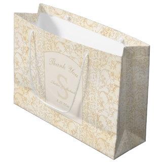 Bolsa De Regalo Grande La nata floral del damasco y el boda beige le