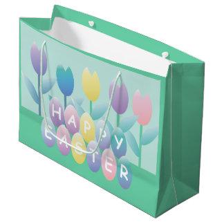 Bolsa De Regalo Grande LGB lindo de los tulipanes y de los huevos de