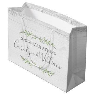 Bolsa De Regalo Grande Madera rústica y enhorabuena botánica del boda