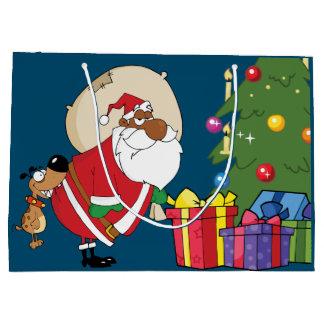 Bolsa De Regalo Grande Malas mordeduras de perro Santa negro en el bolso