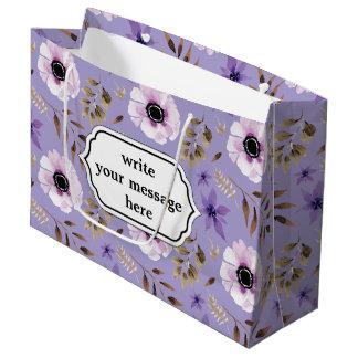 Bolsa De Regalo Grande Modelo botánico floral púrpura dibujado romántico