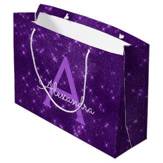 Bolsa De Regalo Grande Monograma púrpura de la chispa - añada su nombre
