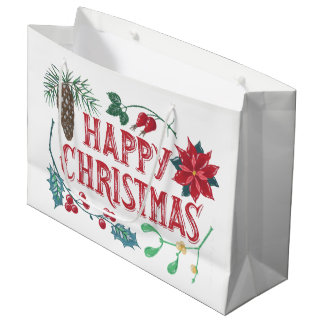 Bolsa De Regalo Grande Navidad botánico tradicional