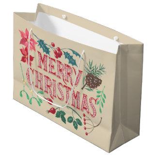 Bolsa De Regalo Grande Navidad botánico tradicional (beige)