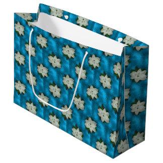 Bolsa De Regalo Grande Navidad hermoso Poinsettia y verdor blancos